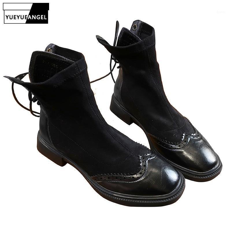 Женские Beatwork Boots Boots Wing Tip Lace Up Женский блок Низкие каблуки Beiker Boots Повседневная уличная одежда Классические черные высокие верхние туфли1