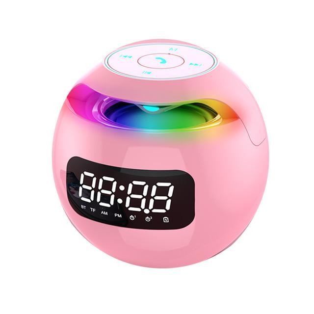 Portable Wireless Bluetooth Speaker Mini Colorful Lights Ball Speakers With LED Display Alarm Clock Hifi TF Card MP3 Music For Smartphone