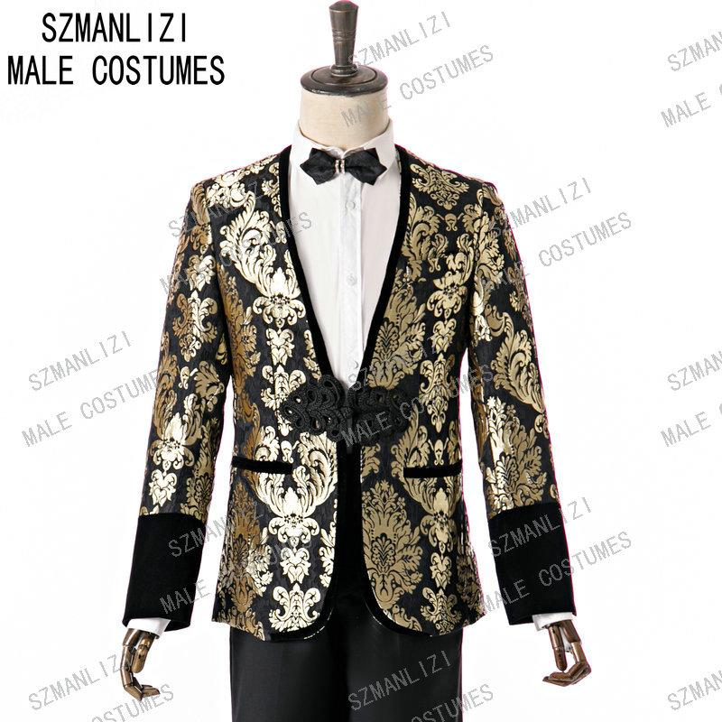SZMANLIZI 2020 nouvelle conception Slim Fit or col Floral Groom Tuxedo pour les hommes de mariage / bal Costumes Hommes Costumes avec un pantalon