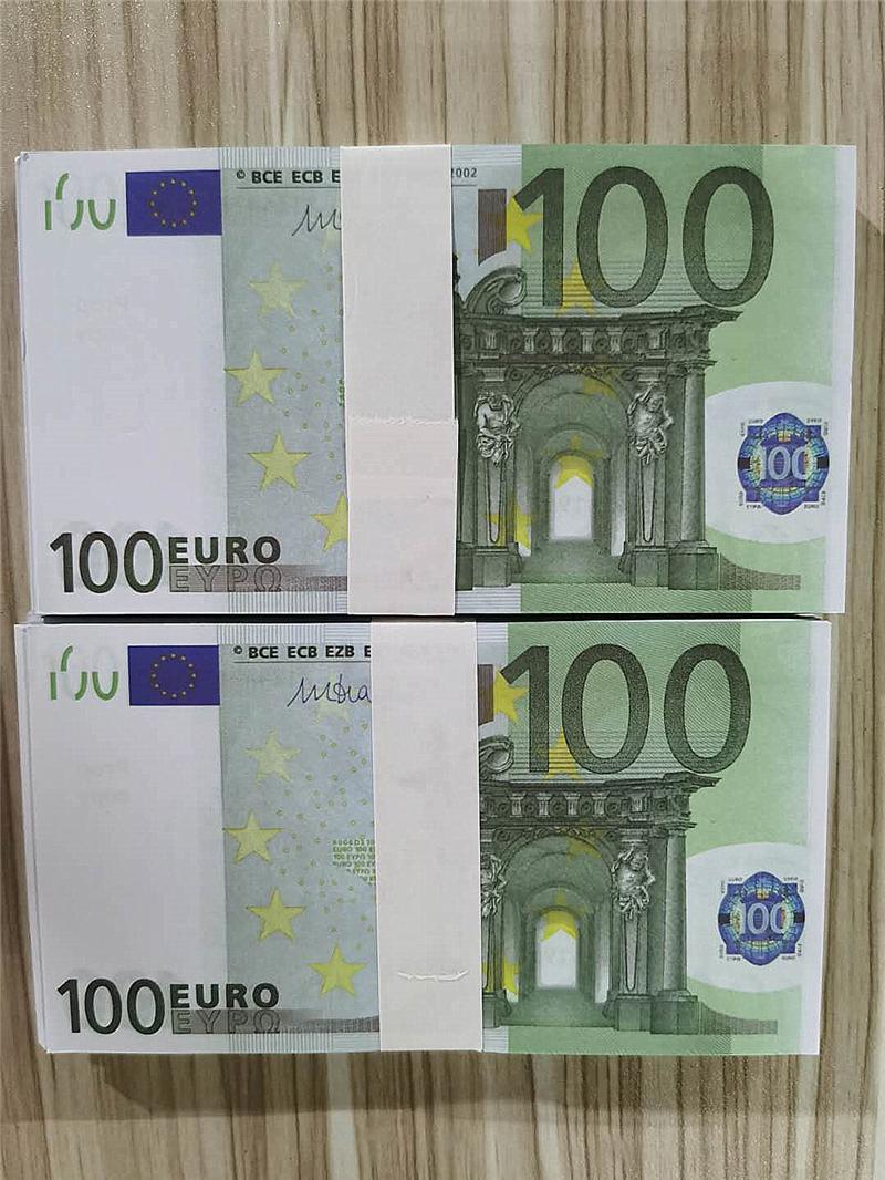 2021 Cross-frontière Hot-Selling Moderne Argent Euro 100 Papier Copier Banknote PROP ARGENT EURO 100 PCS / PACK 08