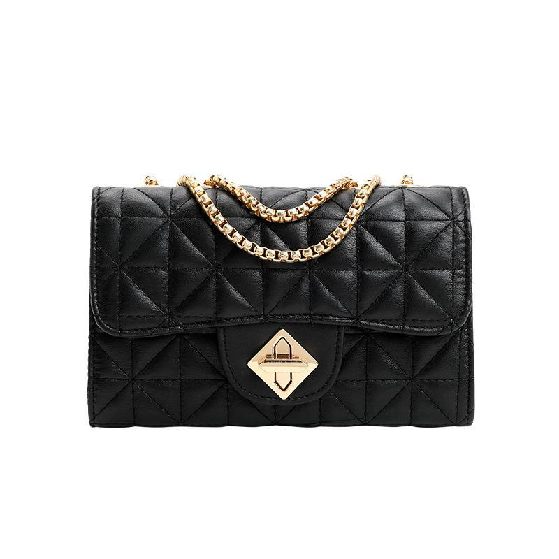 Diamond Women's Travel Black Sling Chain Handbag Flap Casual Fashion Lattice Bag Envelope PU Shoulder Messenger Fbaxl