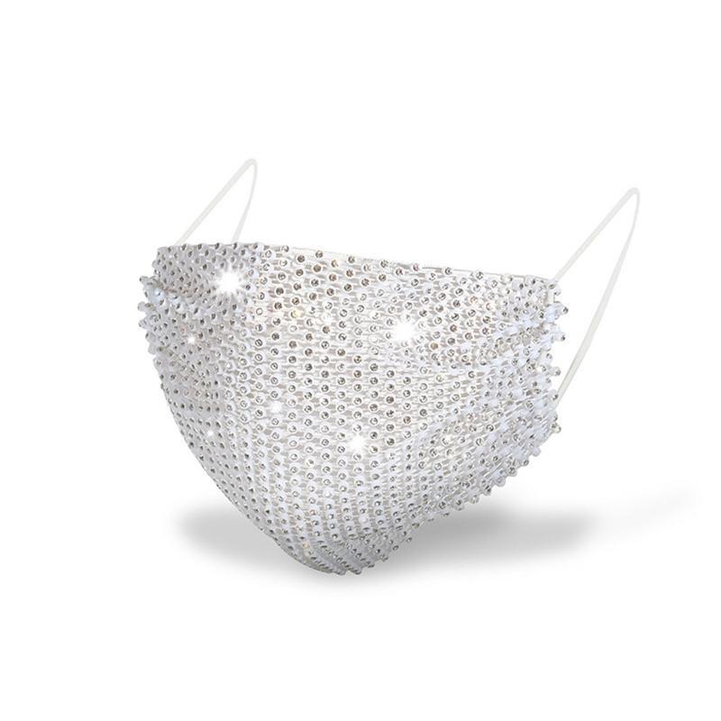 Moda Renkli Örgü Maskeleri Bling Elmas Parti Maskesi Rhinestone Izgara Net Maske Yıkanabilir Kadınlar için Yıkanabilir Seksi Hollow Maske 2021