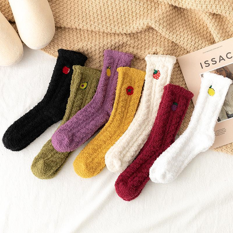 Ladies Mulheres inverno quente macio macio Bed Meias Início Piso chinelo de veludo coral velo Sock Botas de Inverno