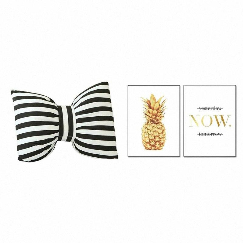 1 Pcs noir et blanc à rayures Bow oreiller Sofa décor Coussins 2 Pcs Set Lettres d'ananas d'or Europe du Nord « maintenant » Peinture H ReGc #