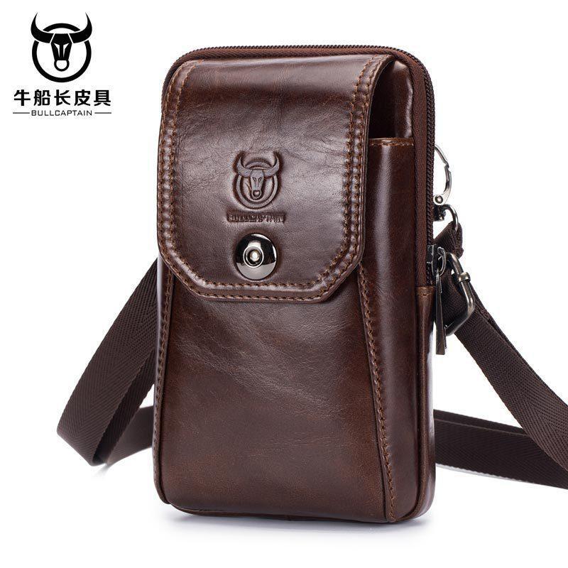 BULLCAPTAIN taille en cuir véritable sac banane Sac ceinture Pack de poche de téléphone Sacs taille Voyage Paquet Homme Petit sac de taille Pochette en cuir 201015