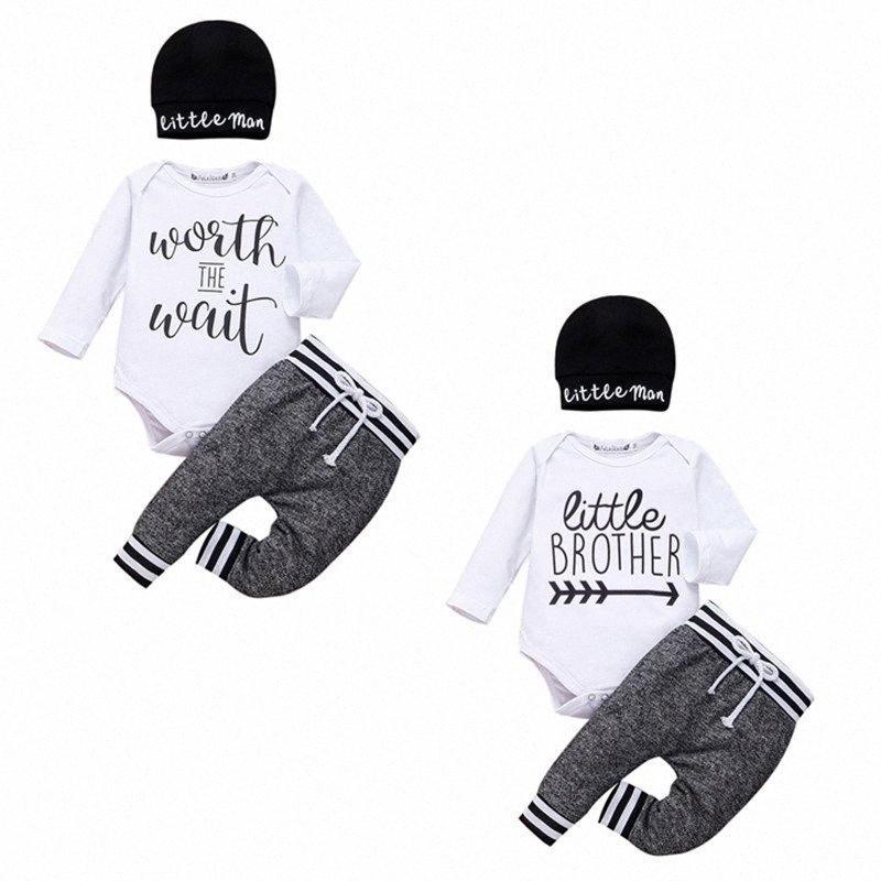 0-24Й Новорожденный мальчик Одежда Ромпер Tops + Длинные брюки + Hat Эпикировка C0zT #