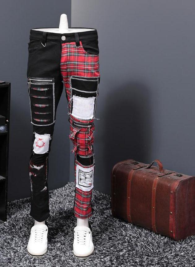 Station Europe Automne et hiver Nouveau motif Black Split Split Holes Patch Jeans Mâle Journée Personnalité Punk Pantalon Pantalon Punk Trend