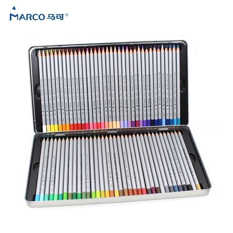 Marco 7100 Prismacolor Ahşap Renkli 72 Yağ Karton Demir Kutusu Profesyonel Çizim Kalemler Okul Malzemeleri için Kroki Sanat 201223