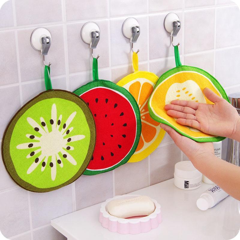 Beau fruit Imprimer Nettoyage Hanging Cuisine essuie-mains en microfibre à séchage rapide chiffon plat serviette WB2787 Essuyage Tissu