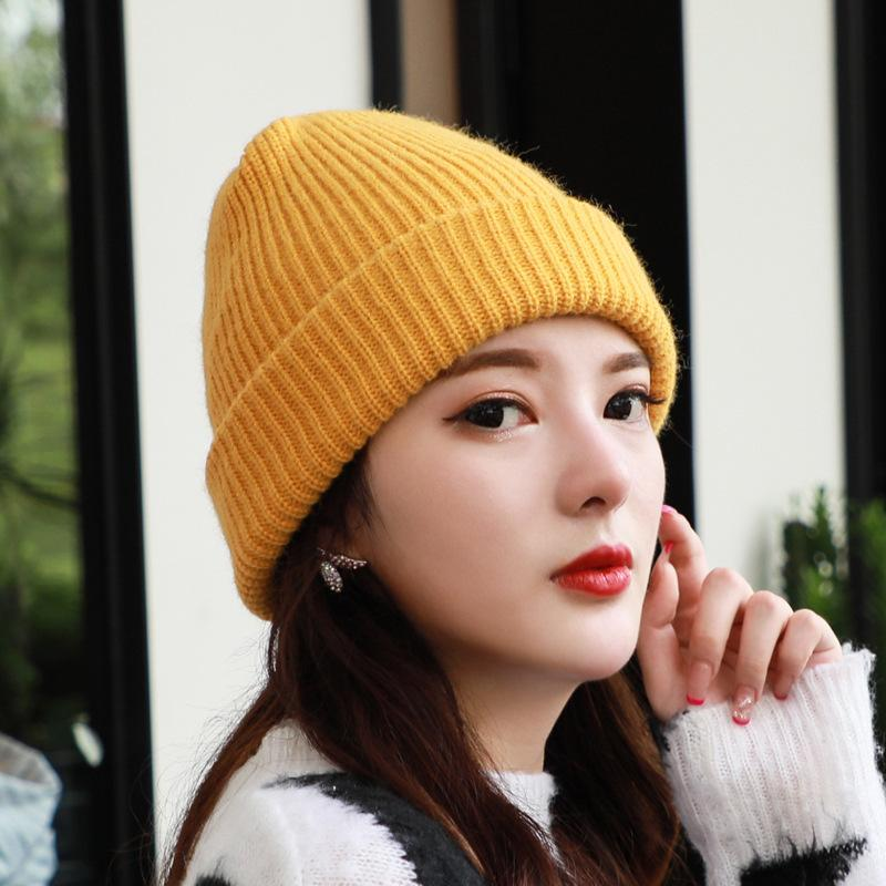Red Roja Lana Niños Otoño e Invierno Coreano Punto Dulce Moda Versátil Cap Melon Hat Hat