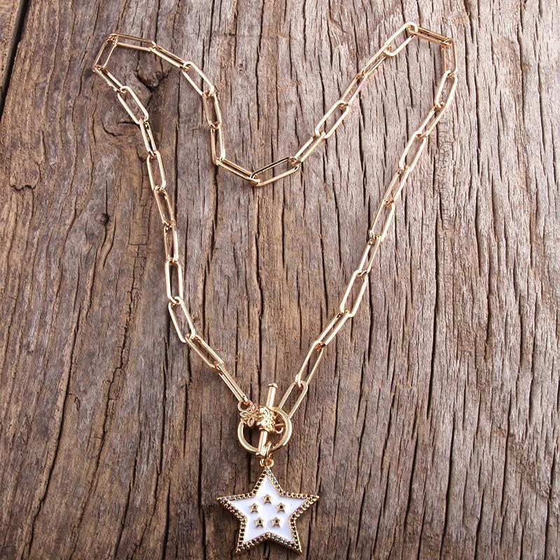Collar Gargantilla Moda RH Declaración collar de Hip Hop Chunky color Cadena de Oro de la estrella / encanto de la cruz del punk Collares
