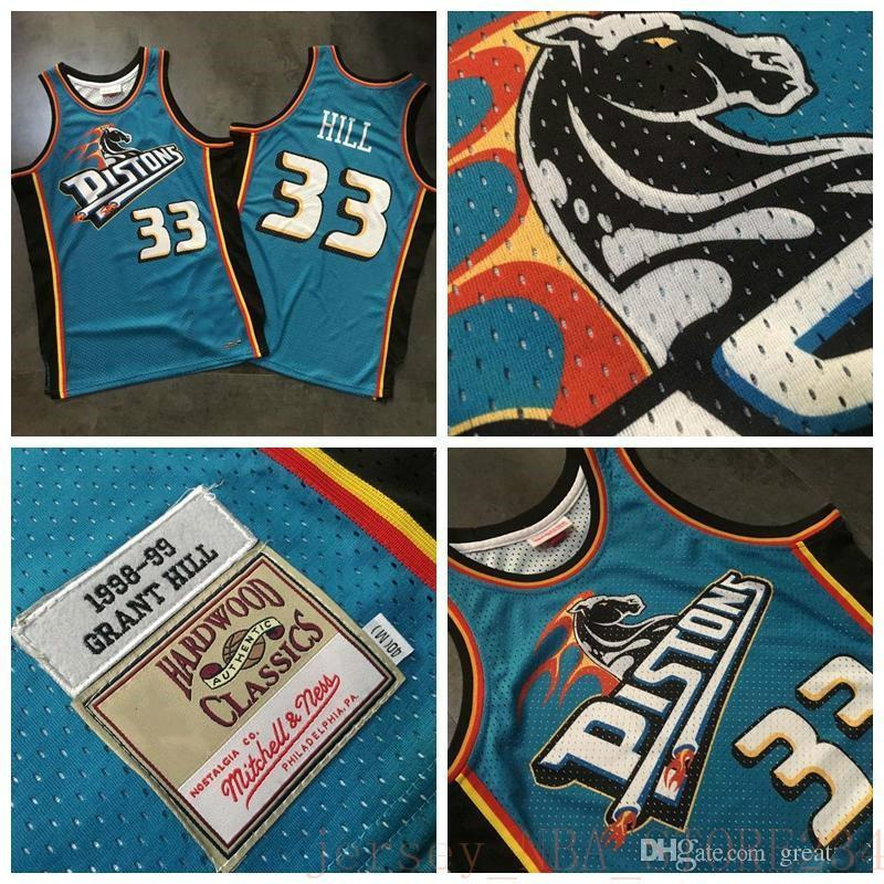 NCAA 2020 Top QualitéDetroitPistons Jersey de basketball 33 # Grant Hill Mitchell Ness Dense Au Tissu Tissu Rétro Impression numérique Jerseys
