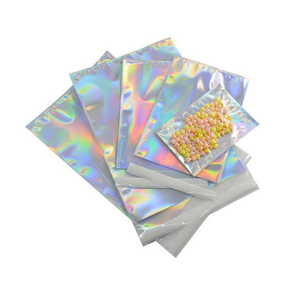 الليزر لون الألومنيوم احباط ذاتية اللصق حقيبة التجزئة الحلوى مايلر التعبئة الحقيبة للحرف البقالة التعبئة والتغليف اكسبريس