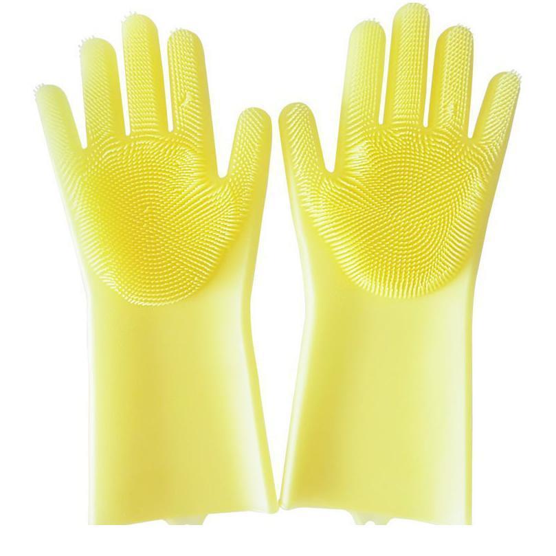 1pair goma goma guantes guantes limpieza guantes magia lavavajillas guantes para lavar platos con pinceles h bbyvlr