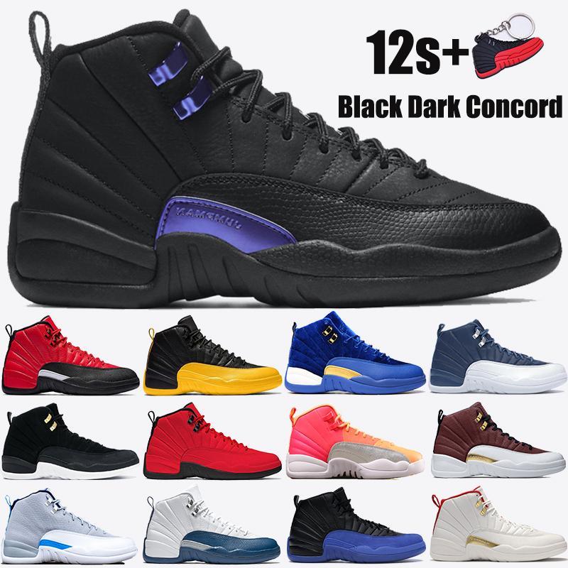 Yeni 12 12s Jumpman Erkekler Basketbol Ayakkabıları Siyah Koyu Concord Indigo Ters Grip Oyunu Üniversitesi Altın Gündoğumu Kraliyet Beyaz Erkek Sneakers Eğitmen