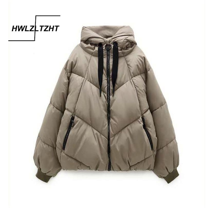 HWLZLTZHT Kış Yeni Kapüşonlu Parkas Sıcak Aşağı Ceket Pamuk Yastıklı Ceket Büyük Boy Kadın Ceket Kalınlaşmak Kadınlar Casual Parka 201211