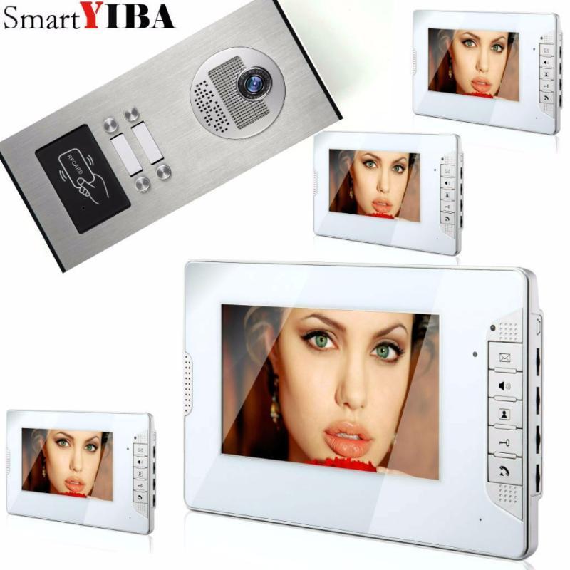 """SmartYIBA 7"""" Дверная Система RFID 4 Units House Apartment Видеодомофон переговорных Kit ИК ночного видение камера телефон дверь"""
