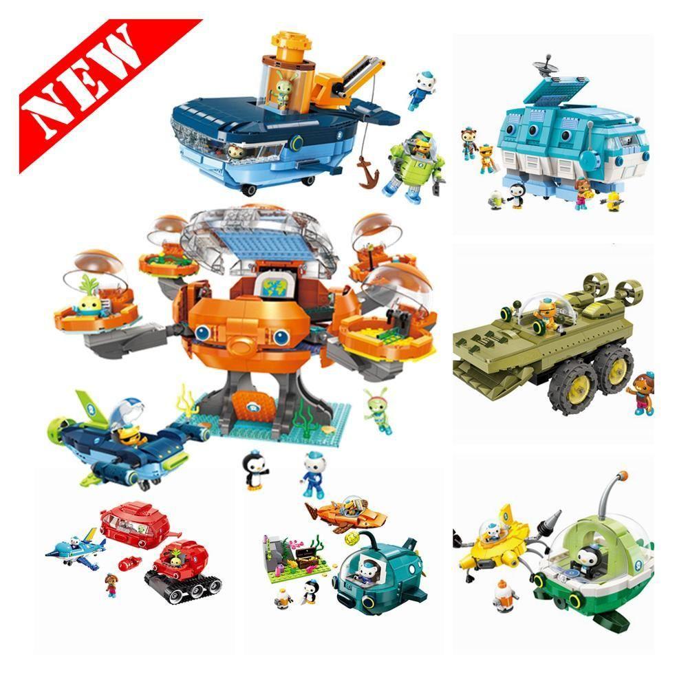 وOctonauts الإوز Kwazii بيزو القرص الكرتون بناء كتل نموذج مجموعات لعبة أطفال متوافق الانكليزي ألعاب الهوايات C1115