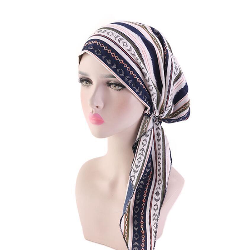 Kanser Bayanlar Turbante Kadınlar fırfır Başörtüsü Kemo Şapka Turban Başkanı Atkılar Yeni Müslim'in başörtüsü Şapkalar Bandana Tichel Pre-Tied