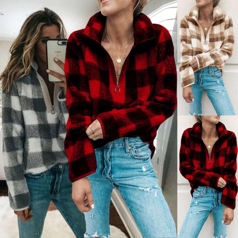 Herbst Winterwolle Plaid Langarm High Neck Warme Top Pullover Reißverschluss Frauen Pullover