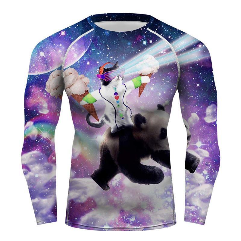 BJJ MMA Rashguards Uzun Kollu Üst Gömlek Cilt Tee Sıkıştırma Baz Katman Uzay Yarışçı Kedi Pizza Kedi Süblime Baskı T-shirt Top 201116