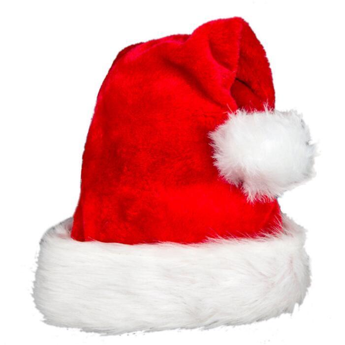 Cappello di Natale Peluche Red Velvet Santa Cappello Bianco Polsini da festa Caps Bambini Adulto Regali di Natale Adulti Cappelli morbidi Accessori per capelli EWB2547