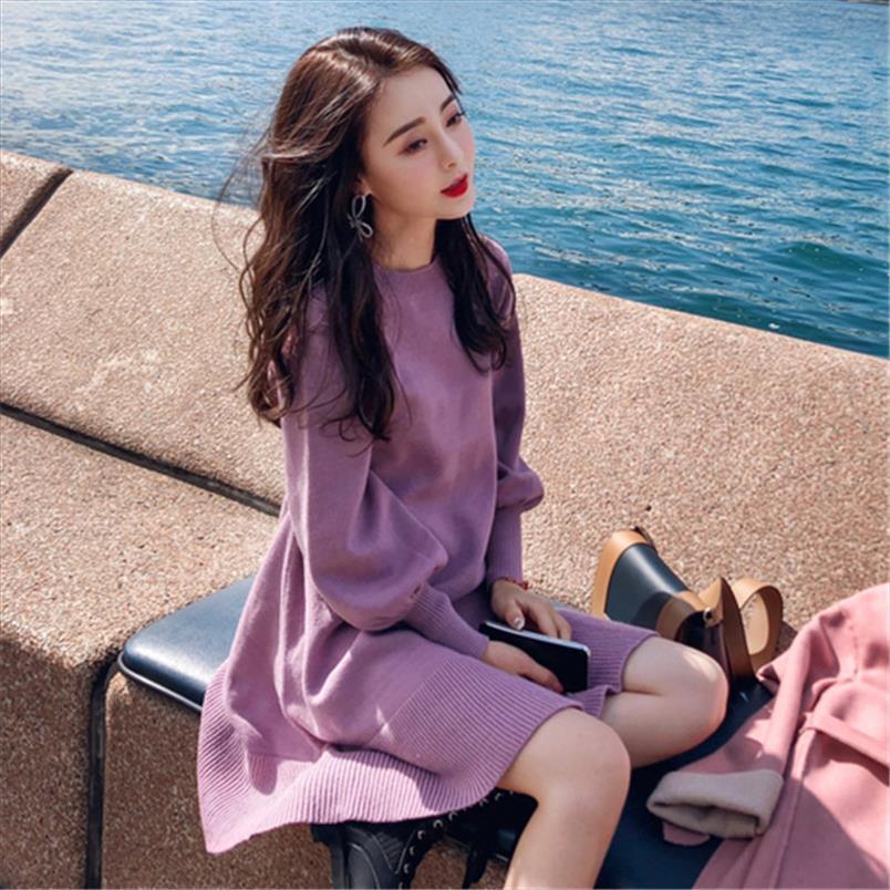 Оптовая Элегантная осень зима свитер платье женщин вскользь O шеи фонарь рукава Трикотажное мини-платье Фиолетовый Бежевый Русалка