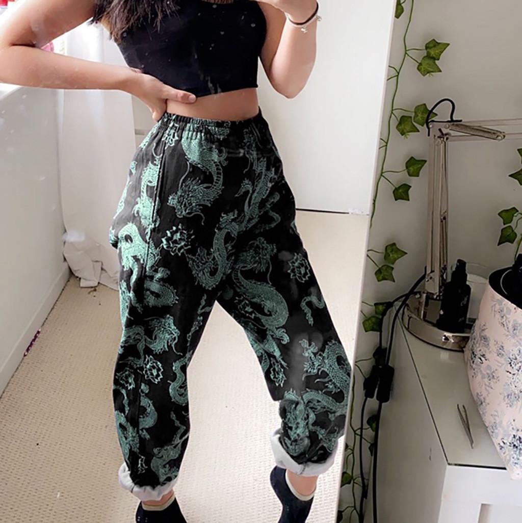 Chinesische Femme Pantalon Damen Dragon Print All-Match atmungsaktiv lose lässige Hose Mode Streetwear Harem Hose 50