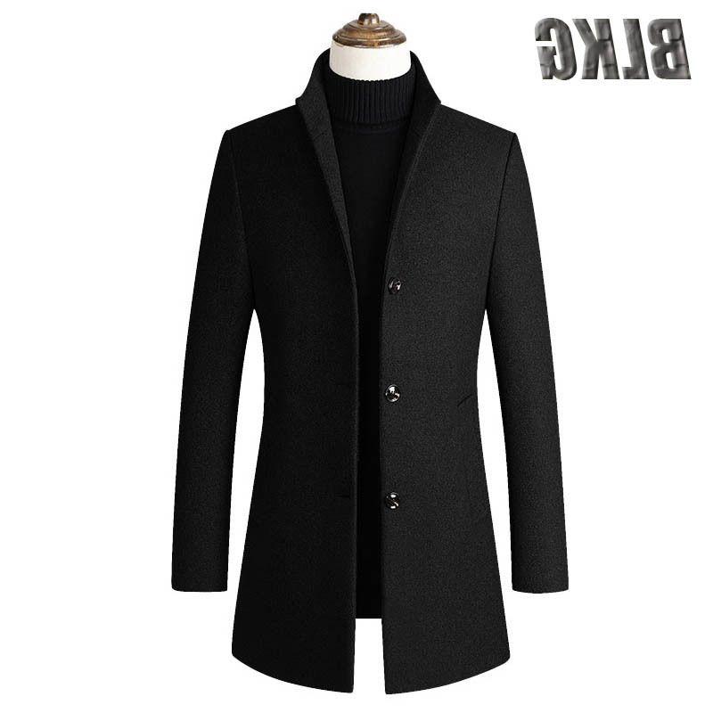 Brasão nova Outono Inverno Trench Mid-longo Único Breasted Business casual de lã de alta qualidade Overcoat Men Roupa