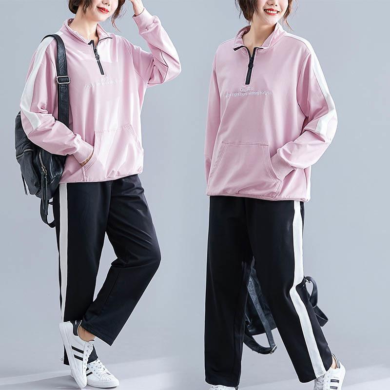 150kg más tamaño para mujeres abiertas abiertas collar rosa deportes traje busto 150 cm 6xl 7xl 8xl 9xl coreano pantalones casuales traje de dos piezas