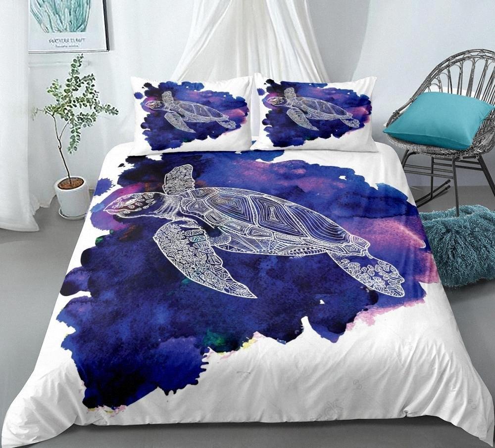 Conjunto del lecho del mar tortuga animal del océano funda nórdica conjunto reina cama Chico púrpura línea de cama king animal art colcha cubierta textil del hogar Zkmu #