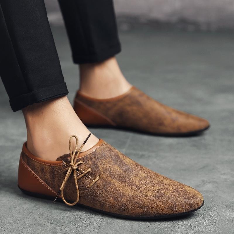 Homens de Verão sapatos casuais respirável macio Mens Loafers Luz Couro Sapatos Flats Moda Deslizamento-na condução Shoes Zapatillas Hombre 201009