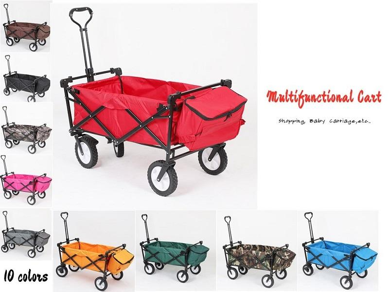 Foldable Garden Wagon with Canopy 4 Wheel Folding Camping Cart Collapsible Festival Trolley Adjustable Handle free fast sea shipping FWD2339
