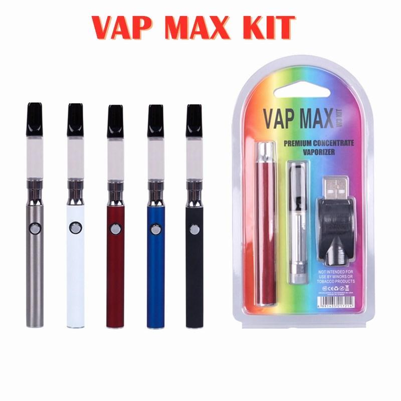 VAP Max W3 Kiti 350mAh Vertex Ön Isı VV Değişken Gerilim Pil 0.5 / 1.0 ML 510 Cam Kartuş USB Şarj Vape Kalem