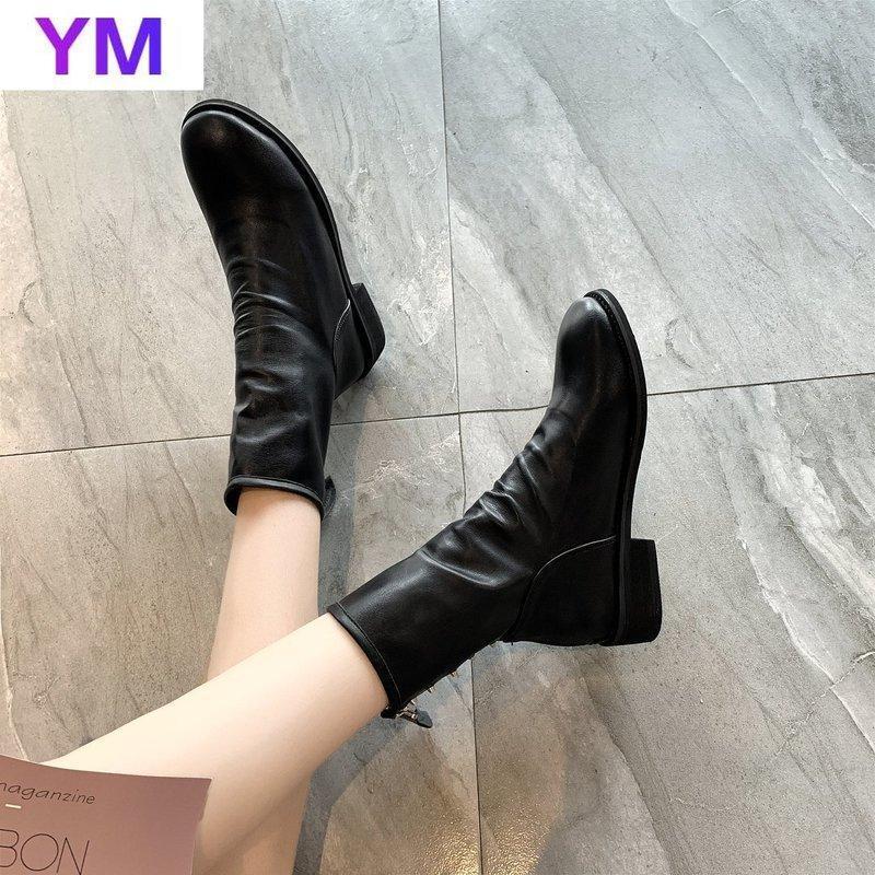 2020 Nouveautés Bottines à la mode pour femmes Bottes en cuir véritable pour femmes Round Toe Fermeture haleine carrée d'hiver 35-39