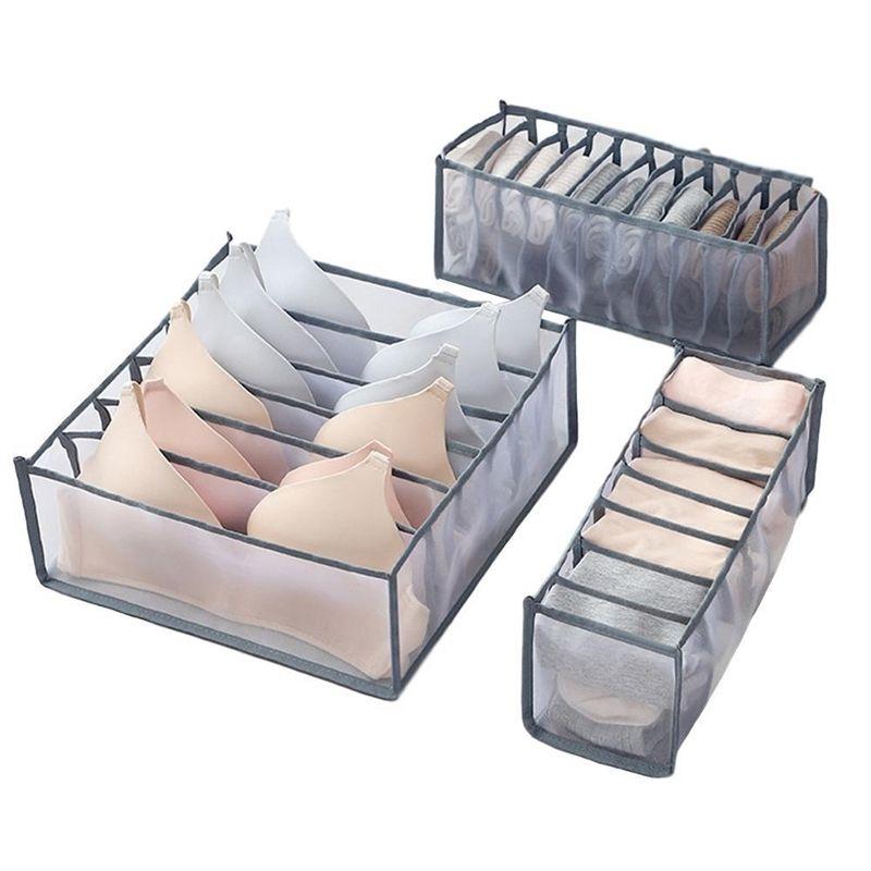 3Pcs/Set Underwear Bra Organizer Storage Box 2 Colors Drawer Closet Organizers Boxes For Underwear Scarfs Socks Bra Y200628
