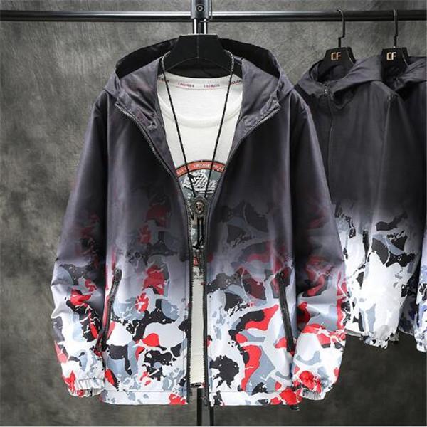 Autunno della molla di colore cangiante incappucciato tendenza giacca grandi dimensioni giacca Men Camouflage sciolto migliori vestiti casual Cappotti Cappotti