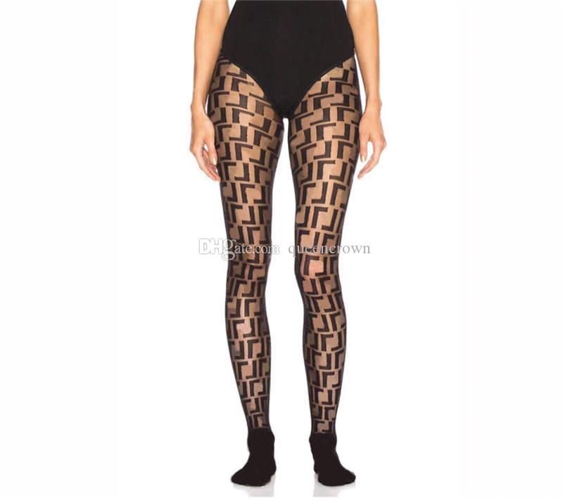 새로운 자카드 문자 Womens 검은 스타킹 높은 허리 통기성 여성 스타킹 섹시한 숙녀 파티 나이트 클럽 스타킹 4 색