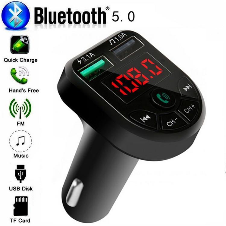 BTE5 CAR MP3-Player Bluetooth-FM-Sender Auto FM-Modulator Dual USB-Ladeanschluss für 12-24V Generalfahrzeug