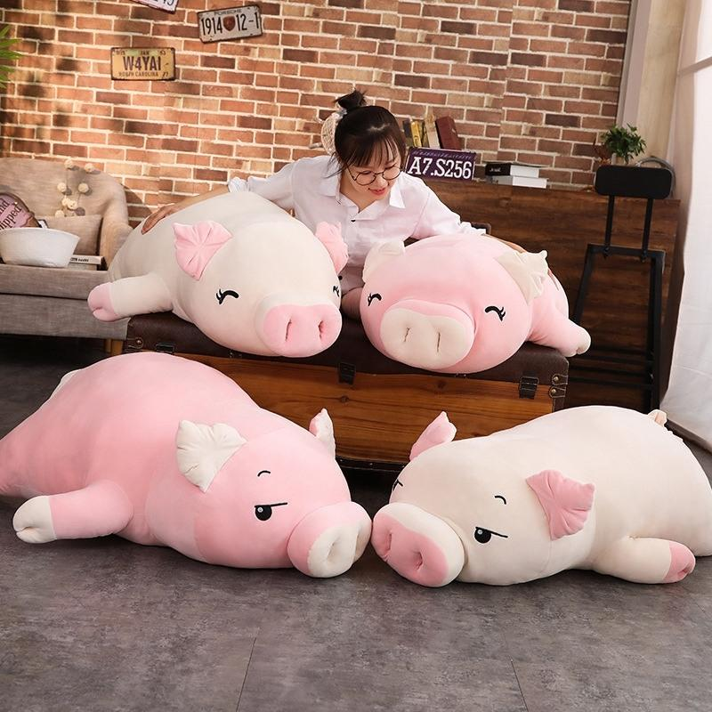 Adorável suave para baixo de Algodão porco boneca de pelúcia de pelúcia enfileirado boneca de porco bebê software travesseiro presente para namorada 1 pc 40-100cm y200111