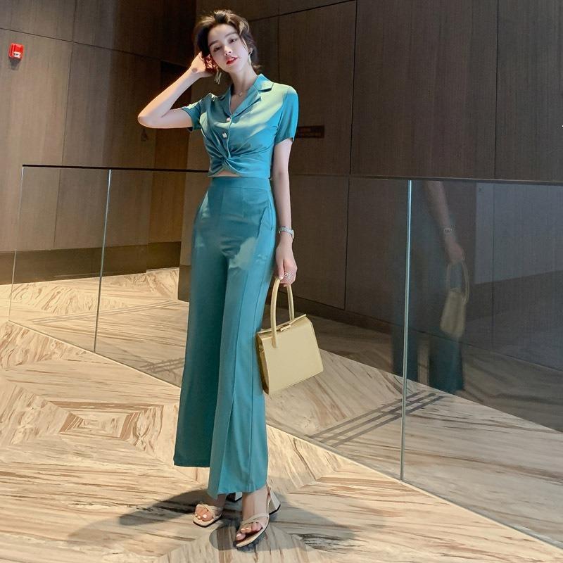 Новый 2021 тонкий синий мода верхняя прямая настройка женских брекетов офисный костюм одежда HD0V