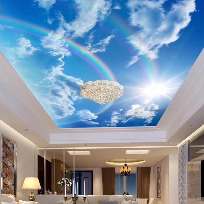 Drop Shipping Custom 3D Wallpaper Wandbilder Blauer Himmel Weiße Wolken Regenbogen Fototapete Innen Decken Dekorative Wand Papier1