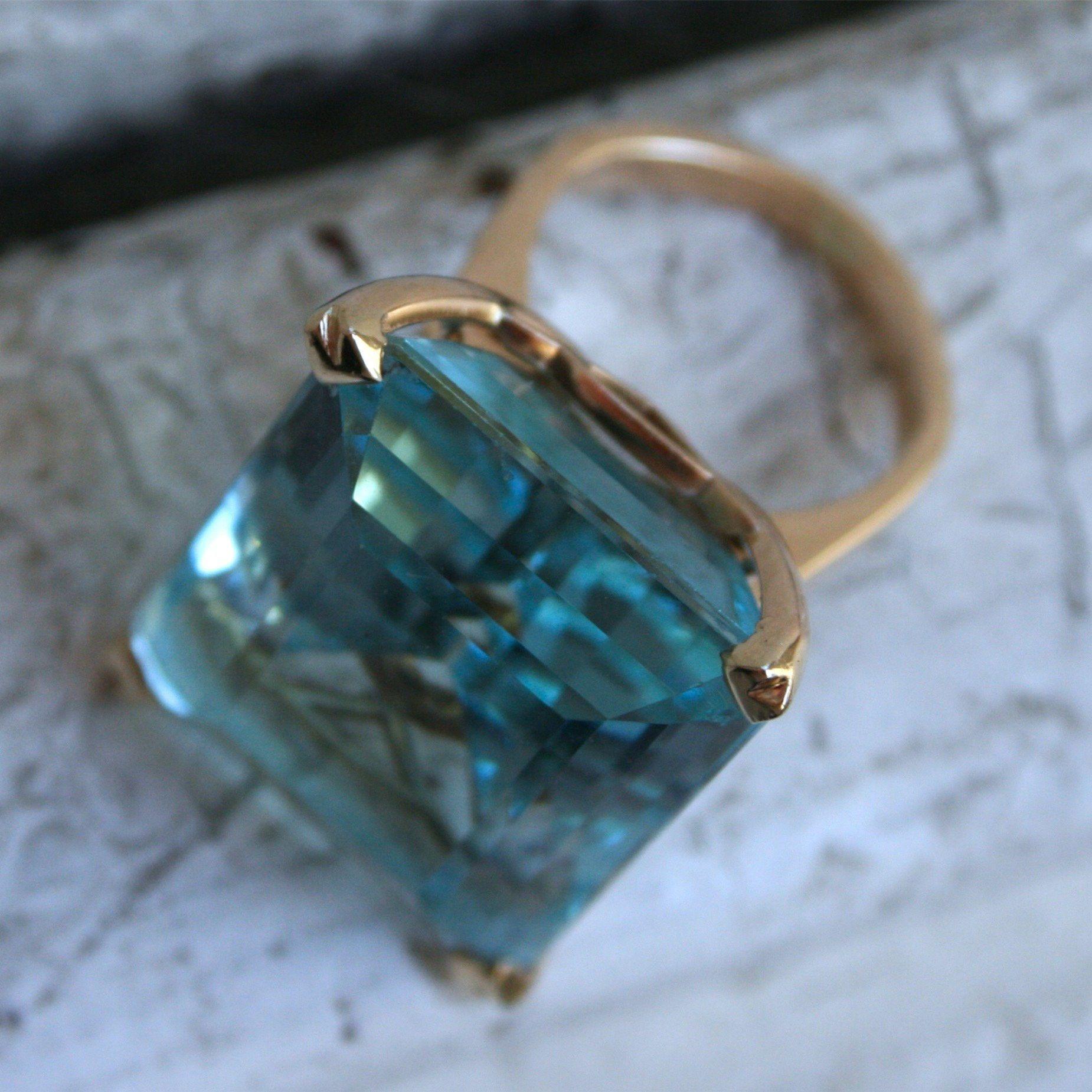 Mar azul topázio pedra princesa anel de diamante de noivado de safira anel de ouro 14K Anillos para as mulheres biżuteria jade jóias com diamantes 201116