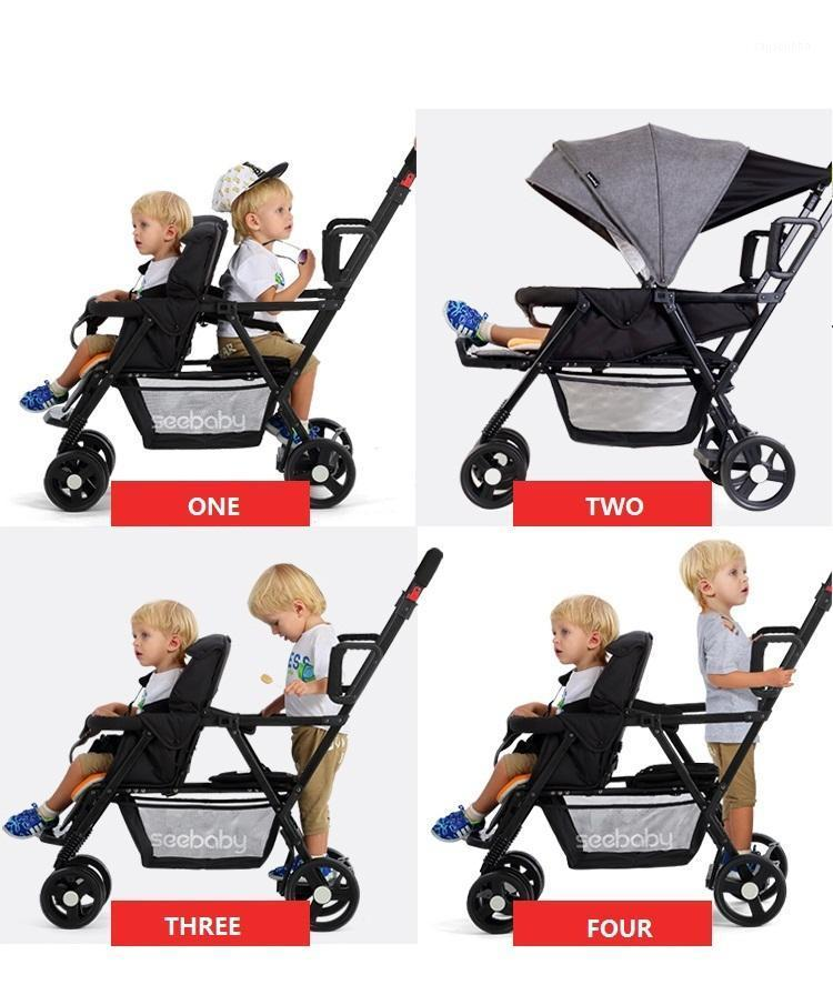 Seebaby Doble Twins Baby Stroller Doble PRAM DOS ASIENTO DE PUEDE PUEDE / SIT FIT Newborns Baby and Children Carriage Pushchair Cargar 130kg1