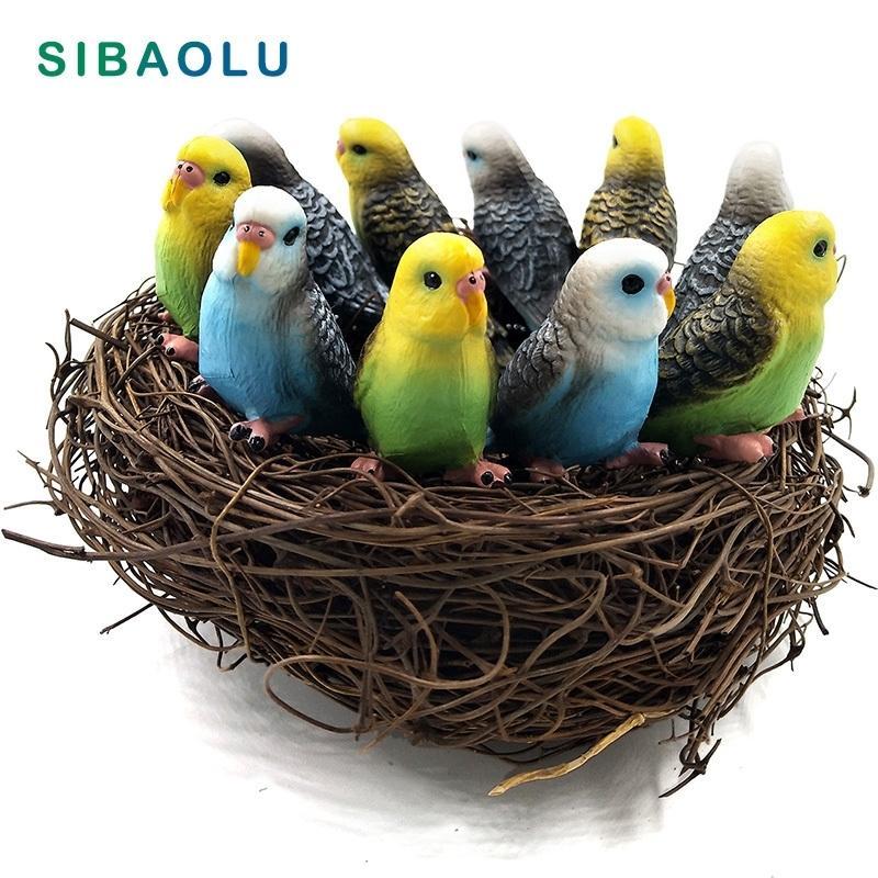 10 pz / lotto Simulazione Mini Carino Parrot Bird Figurine Modello Animale Modello Home Decor Miniature Fairy Garden Decoration Accessori Figura 201125