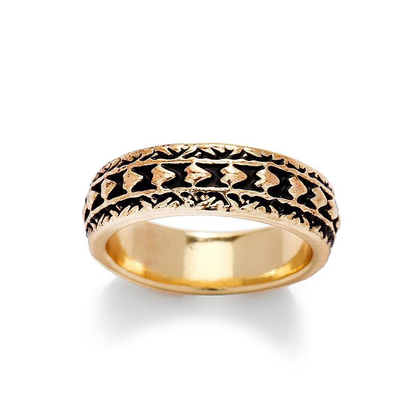 Anneaux de mode en cristal plaqué or engagement Trendy émail noir Grande lettre Bijoux Anneaux hawaïenne pour les femmes