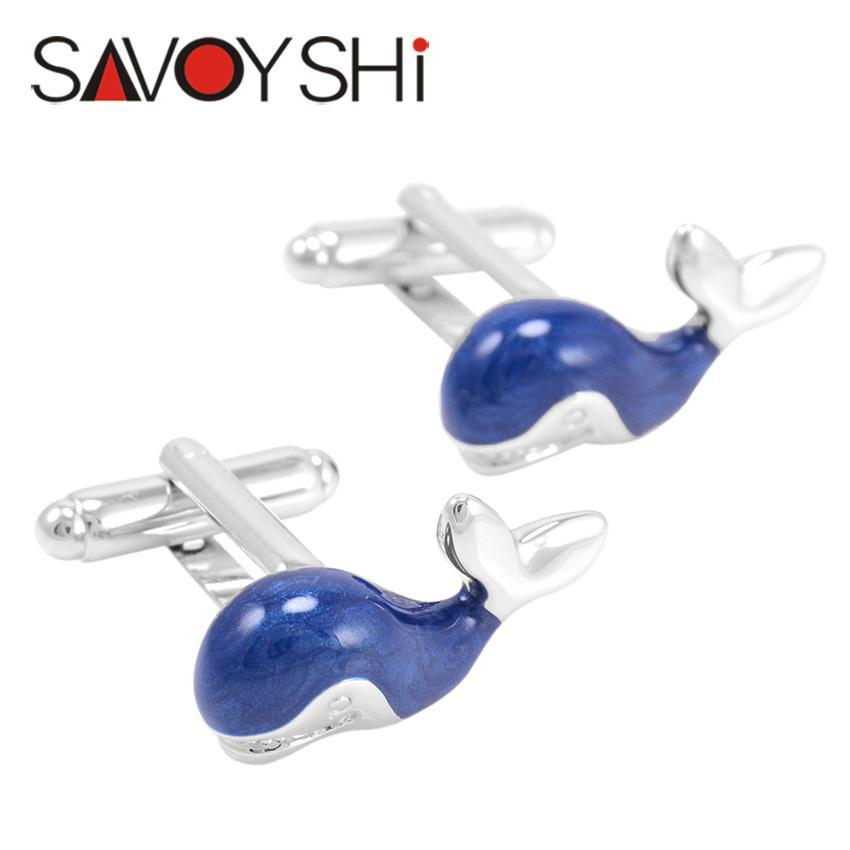 Savoyshi Whale Cufflinks For Mens Shirt Brand Cuff Bottons High Quality Blue Enamel Animal Cuff Links Fashion Men Jewelry Gift