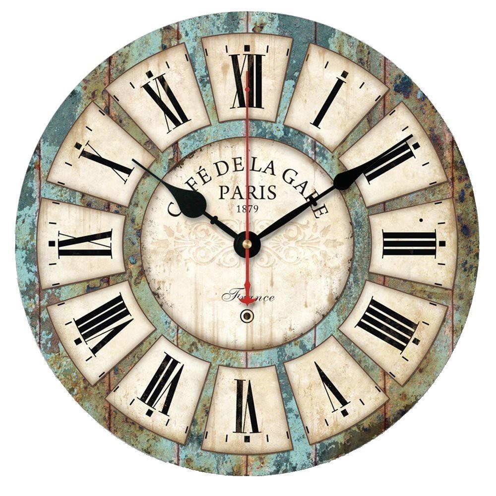 Horloge murale Vintage Horloge à bois Chabby Chic Chical Numéral romain Quartz Silencieux Horlogerie Horlogerie Salon Home Décor