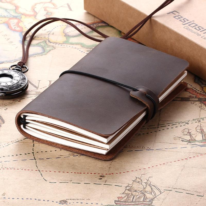 Retro Couro Notebooks Revistas Livro Diário Agenda Handmade Planejador Vintage Recarregável Jornal Jornal Viajante Presente Viajante