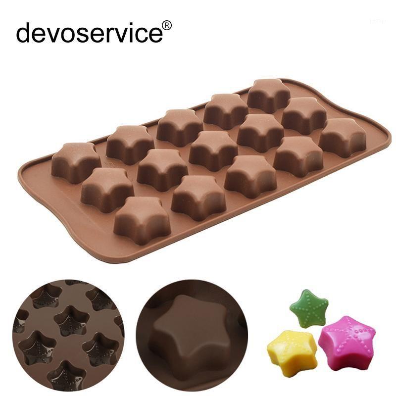 1 pcs silicone fondantchocolat mold-15 buracos stars forma silicone molde chocolat ferramentas aleatórias de cozinha aleatória